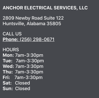 Anchor Electrical Services Hours of Operation